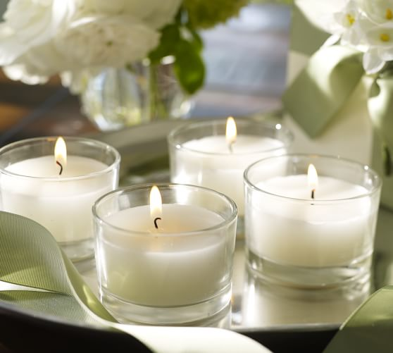Filled Glass Oversized Tealight Candle, Set of 4, Ivory