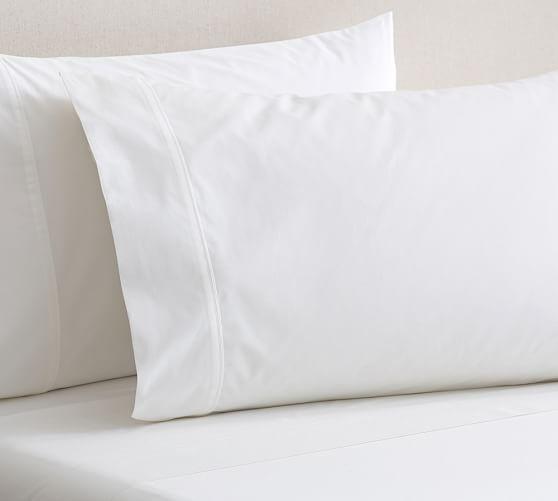 PB Organic 400-Thread-Count Sheet Set, Twin, White