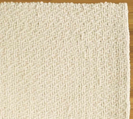 Alexa Braided Felted Wool Rug, 3x5', Ivory