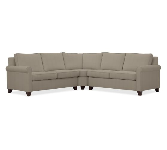 Cameron Roll Arm Upholstered 3-Piece L-Shaped Wedge Sectional, Polyester Wrapped Cushions, Performance Everydayvelvet™ Carbon