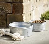Galvanized Metal Pet Bowl, Small