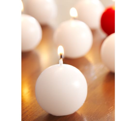 Sphere Candles, Set of 12, White