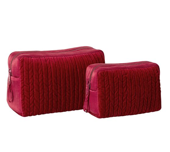 Channel Quilted Velvet Cosmetic Bags, Set of 2, Red