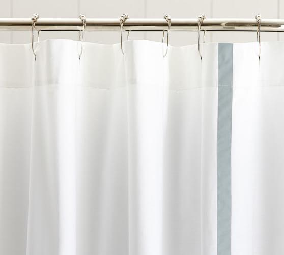 Morgan Banded Shower Curtain, Dark Porcelain Blue