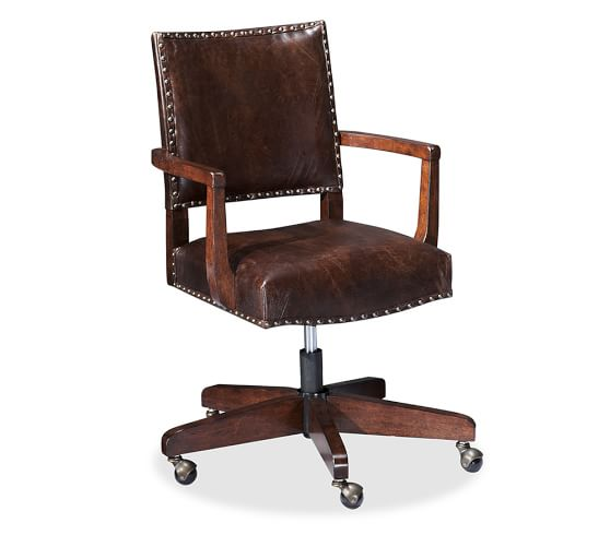 Manchester Swivel Desk Chair, Espresso stain Frame with Antique Dark Brown Leather Upholstery
