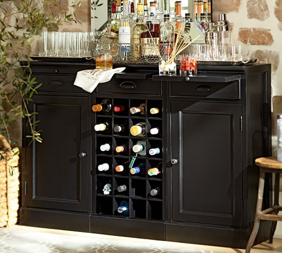 3-Piece Modular Bar Buffet (2 wood door cabinet & 1 wine grid base), Black