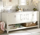 Newport Double Sink Console, White, Chrome Knob Finish Knobs