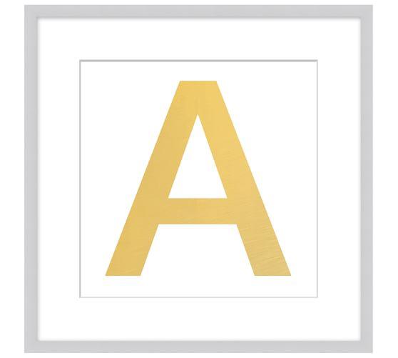 Gold Leaf Letter Framed Print, A, 18 x 18
