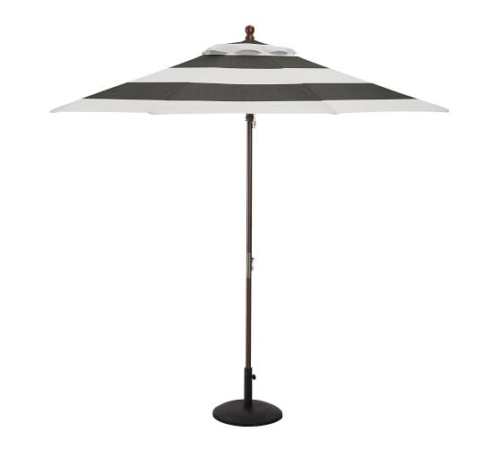 9' Round Market Umbrella with Eucalyptus Pole - Sunbrella® Awning Stripe, Black/White