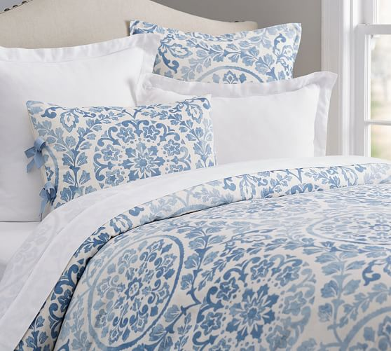 Ana medallion duvet cover sham pottery barn for How to change a duvet cover by rolling