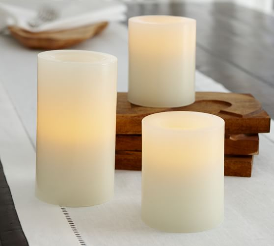 Flameless Wax Pillar Candle - Ivory | Pottery Barn