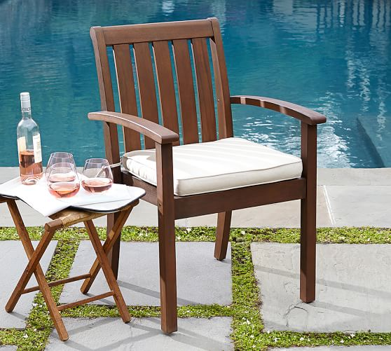 Sunbrella piped outdoor dining chair cushion solid for Sunbrella outdoor furniture