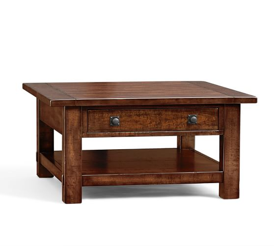 benchwright square coffee table pottery barn. Black Bedroom Furniture Sets. Home Design Ideas