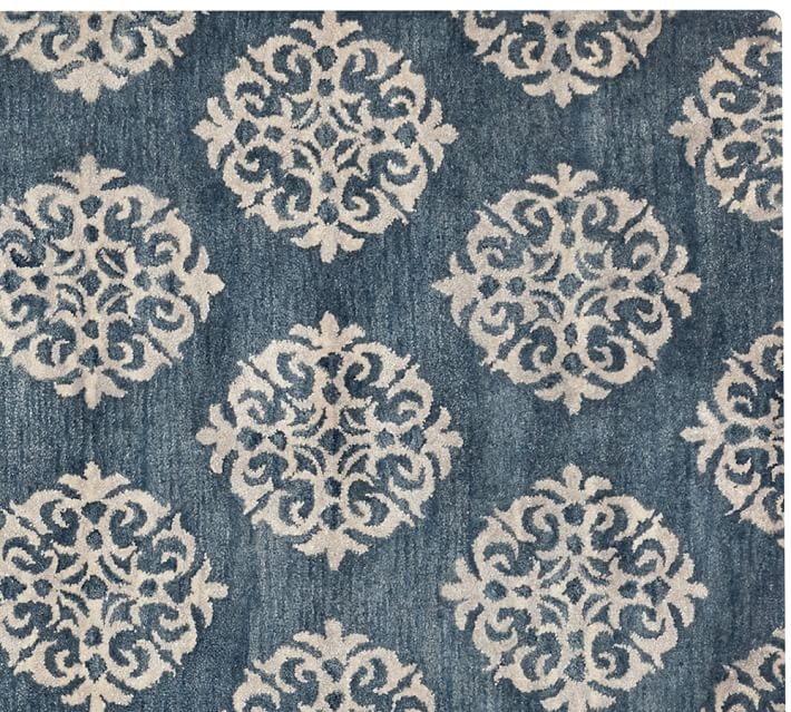 Diamond Basic Porcelain Blue Persian Style Wool Area Rug: Pottery Barn Blue Rug