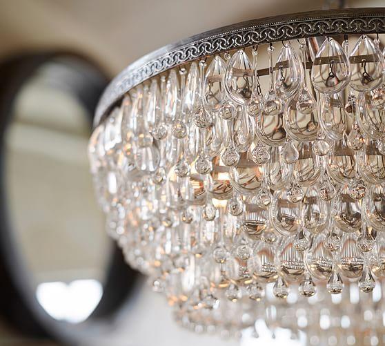 clarissa crystal drop round chandelier  pottery barn, Lighting ideas