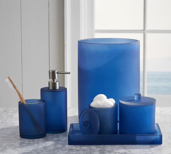 Bathroom accessories sets amazing bathroom accessories for Blue and silver bathroom accessories
