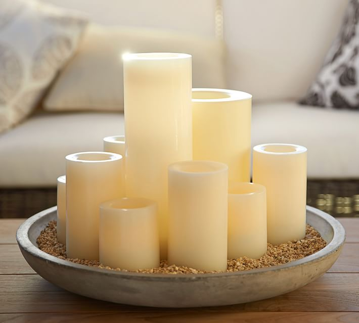 Flameless Outdoor Pillar Candle - Ivory | Pottery Barn