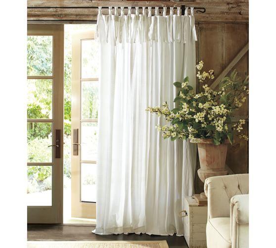 Textured Cotton Tie Top Drape Pottery Barn