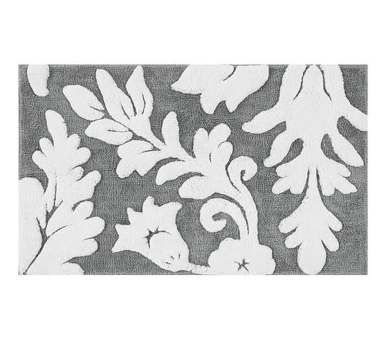 Damask bathroom rug roselawnlutheran for Black and white damask bath mat