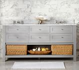 Classic Double Sink Console, Gray, Carrara Marble & Chrome Finish Knobs