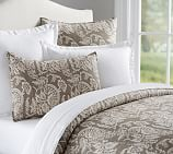 Alessandra Floral Reversible Duvet Cover, Full/Queen, Gray