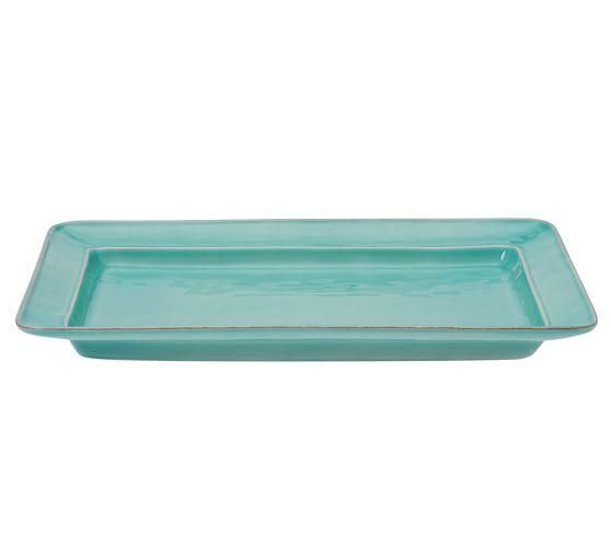 Cambria Rectangular Serving Platter, Turquoise