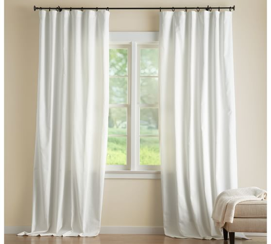 Cotton Canvas Black Eyelet Lined Curtain: Cameron Cotton Pole-Pocket Drape