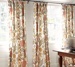 draperies  patterned curtains  pottery barn, Bedroom decor