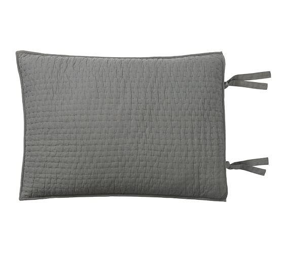 Pick-Stitch Handcrafted Sham, Standard, Flagstone Gray