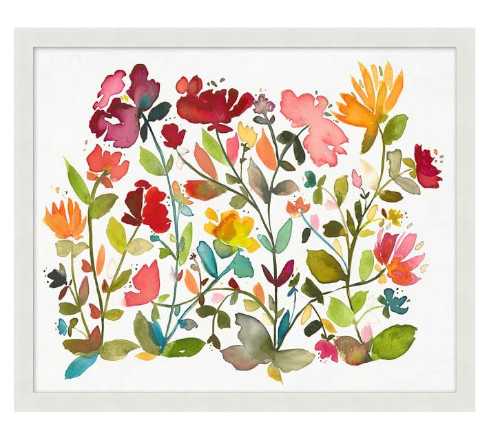 oversize floral pattern framed print pottery barn