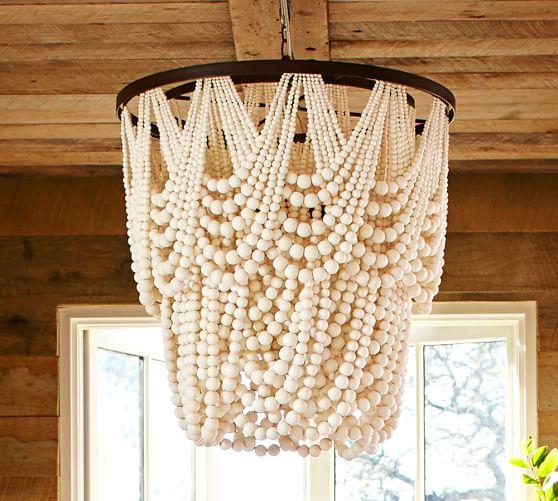 Amelia Indoor/Outdoor Wood Bead Chandelier | Pottery Barn:,Lighting