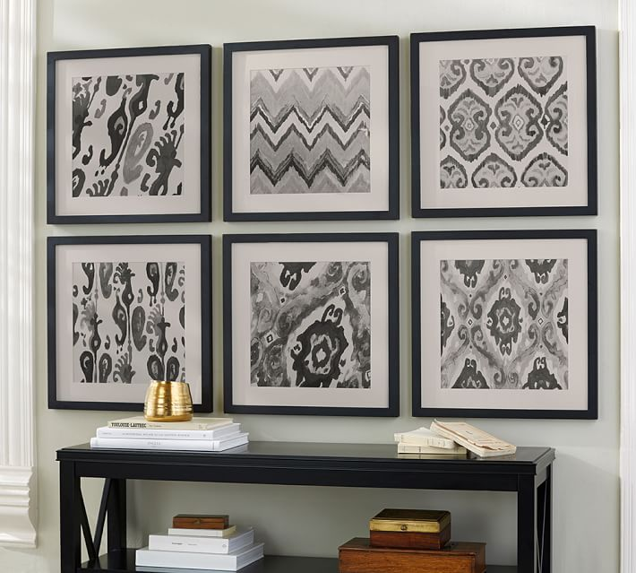 gray ikat framed prints pottery barn
