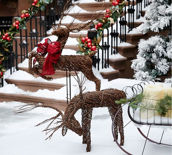 Outdoor twig deer pottery barn for Christmas deer lawn decorations
