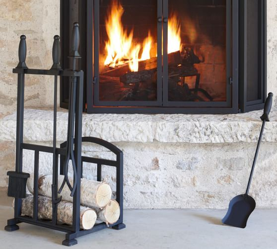 - PB Classic Fireplace Log Holder/Tool Set Pottery Barn