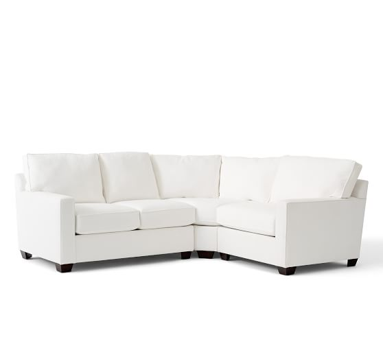 Buchanan Square Arm Upholstered Curved 3-Piece Sectional With Wedge |  Pottery Barn
