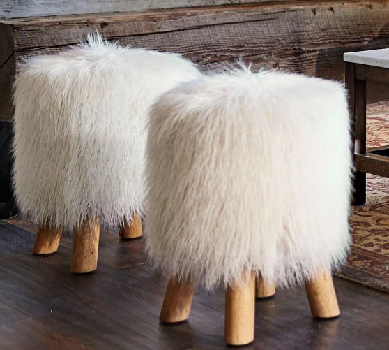Mongolian Faux Fur Stool Pottery Barn