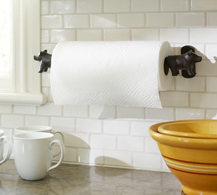 . Vintage Blacksmith Wall Mount Pig Paper Towel Holder   Pottery Barn
