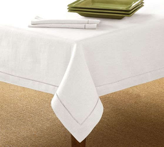 Linen Hemstitch Tablecloth Pottery Barn