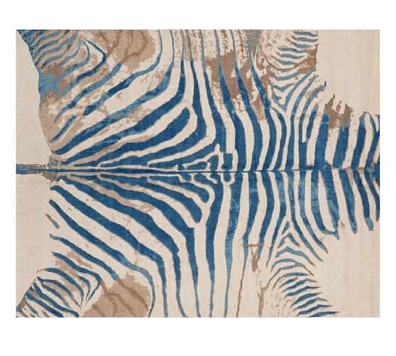 Zebra Sculpture Area Rug: Printed Zebra Rug - Blue