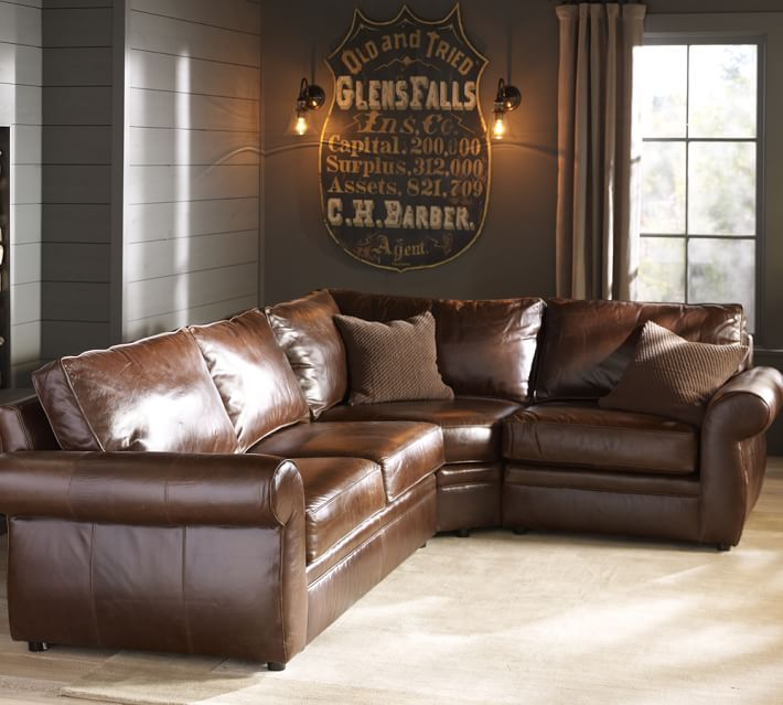Pearce Leather 3-Piece Sectional with Wedge | Pottery Barn