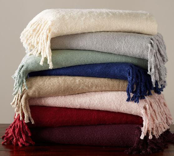 Solid Faux Mohair Oversized Throw