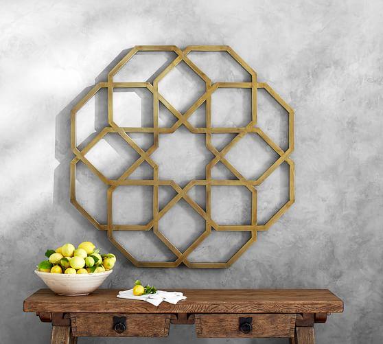 Brass Kitchen Wall Decor : Brass metal geo wall art pottery barn
