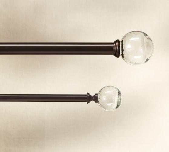 Curtains Ideas curtain rod glass finials : Vintage Glass Ball Finial & Drape Rod - Oil-Rubbed Bronze finish ...