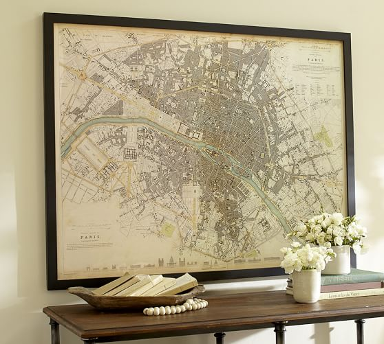 vintage inspired paris map framed print pottery barn