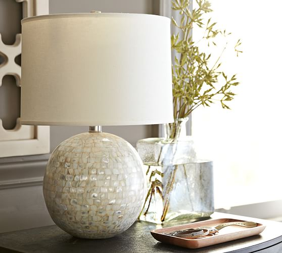 jolie mother of pearl round lamp base pottery barn. Black Bedroom Furniture Sets. Home Design Ideas