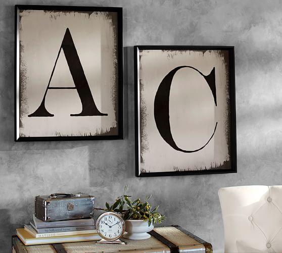 painted type letter framed prints pottery barn
