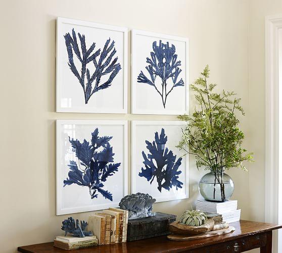 framed coral prints indigo pottery barn