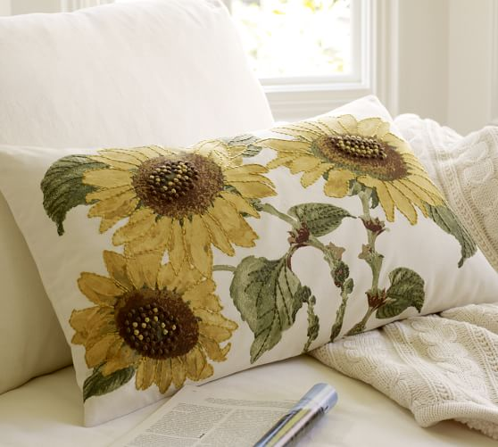 Sunflower Embroidered Lumbar Pillow Cover Pottery Barn
