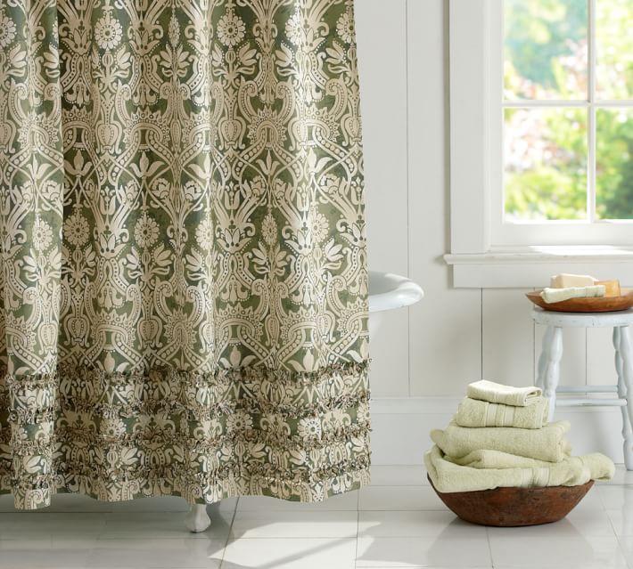 Lorraine Ruffle Shower Curtain | Pottery Barn