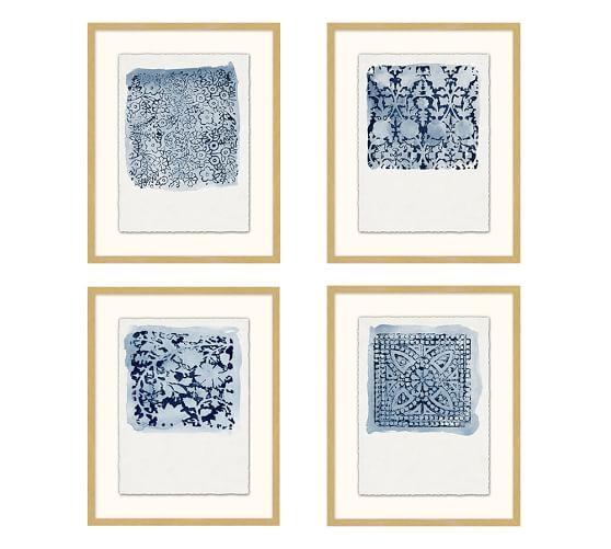 textile stamp framed prints pottery barn